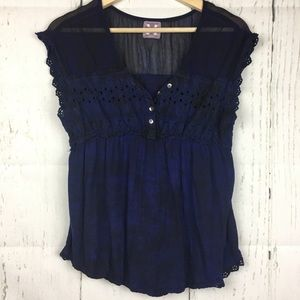 Free People Blue Babydoll Peasant Button Blouse S